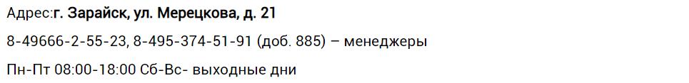 Адреса, телефоны дополнительных офисов ЕИРЦ «Зарайск»