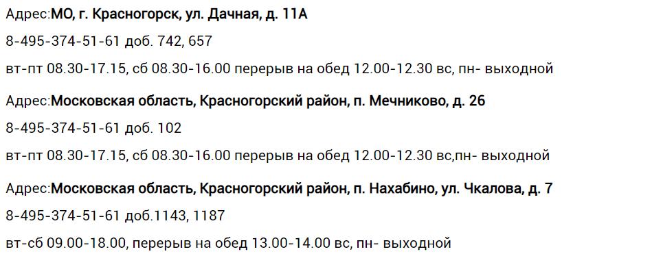 Адреса, телефоны дополнительных офисов ЕИРЦ «Красногорск»