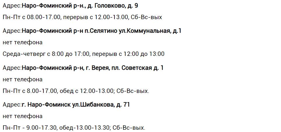 Адреса, телефоны дополнительных офисов ЕИРЦ «Наро-Фоминск»