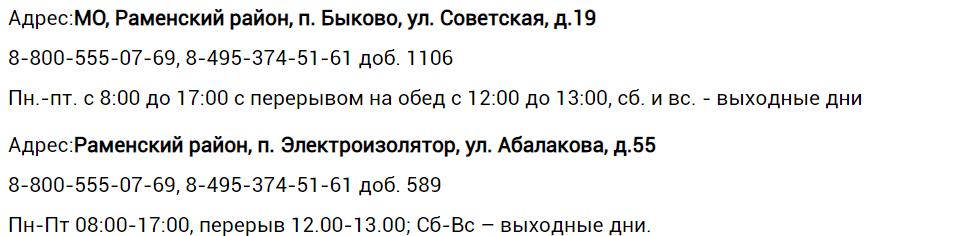 Адреса, телефоны дополнительных офисов ЕИРЦ «Раменское»
