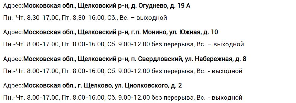 Адреса, телефоны дополнительных офисов ЕИРЦ «Щелково»